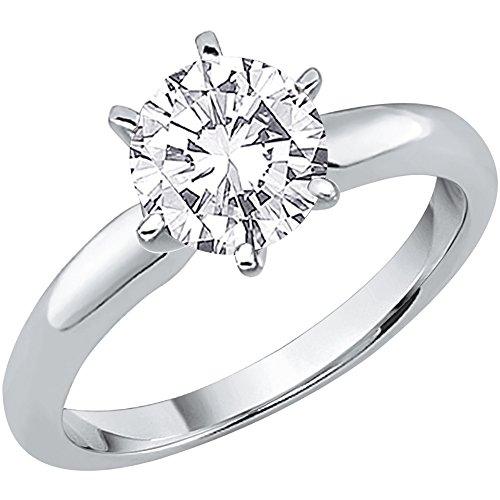 Si2 Round Diamond Engagement Solitaire (1 1/2 ct. J-K - SI2-I1 Round Brilliant Cut Diamond Solitaire Engagement Ring in 14K White Gold (Size-6))