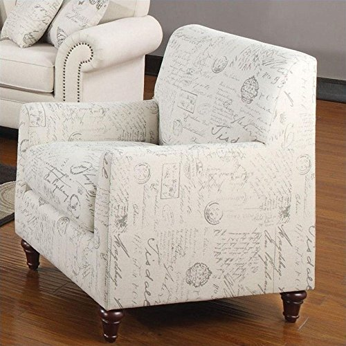 Coaster Home Furnishings Norah Arm Chair with French Script Pattern Oatmeal
