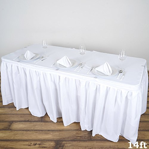 BalsaCircle 14 feet x 29-Inch White Polyester Banquet Table Skirt Linens Wedding Party Events Decorations Kitchen Dining Catering