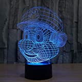 IKEY 3D Mario Night Light Touch Switch Table Desk Optical Illusion Lamps, 7 Color Changing Lights with Acrylic Flat…