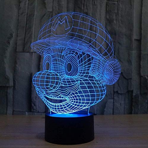 IKEY 3D Mario Night Light Touch Switch Table Desk Optical Illusion Lamps, 7 Color Changing Lights with Acrylic Flat & ABS Base & USB Cable