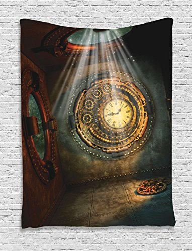 Christmas Theme Wall Clock - Fantasy House Decor Tapestry Wall Hanging By Ambesonne, Fantasy Scene With Clock Dream, Sky Lights From The Ceiling, Fiction Art Stars, Bedroom Living Room Dorm Decor, 60 W x 80 L Inches, Brown Teal