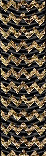 Venus Ribbon V81600 1 1/2 Inch Metallic Chevron Grosgrain Printed Polyester Grosgrain Ribbon 5 yards Black/Gold