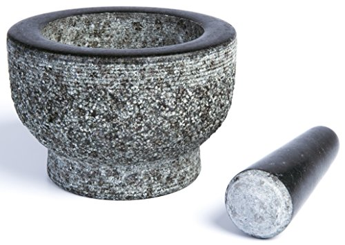 Granite Mortar and Pestle by HiCoup - Natural Unpolished, Non Porous, Dishwasher Safe Mortar and Pestle Set, 6 Inch Large
