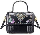 Pijushi Designer Floral Purses Genuine Leather Tote Cross Body Handbags 65450 (One Size, 65450 BLACK)