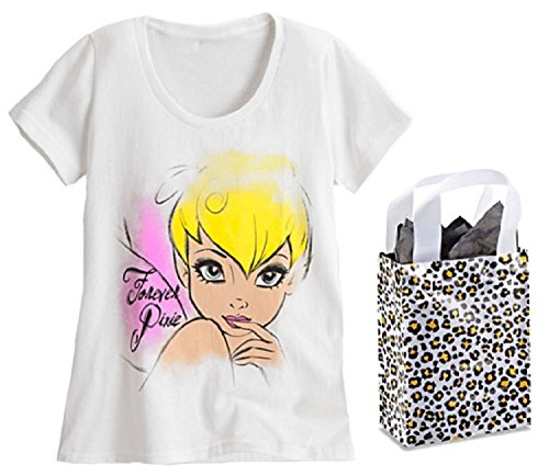 Disney Tinker Bell Womens' Forever Pixie Tee & Bag - 2 Piece Gift Set (Small) (Disney Tinkerbell Lounge)