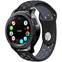 KADES Gear S3 Silicone Replacement Strap Smart Watch (Black/Gray)