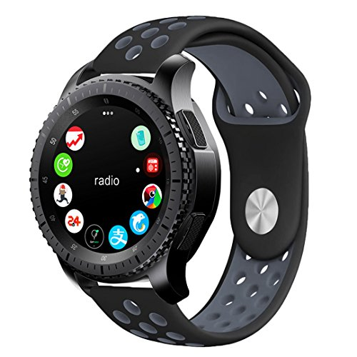 Gear S3 Sport Band, KADES Soft Silicone Band Replacement Strap for Gear S3 Frontier and Gear s3 Classic (Large, Black/Gray)