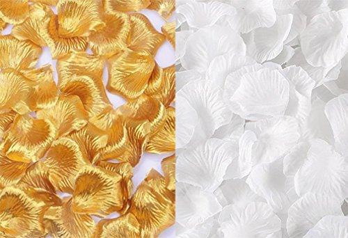 Qingsun 2000 Pcs Silk Rose Petals Wholesale Artificial Flower Petals Rose Wedding Party Ceremony Home Decoration Confetti (White + Golden)