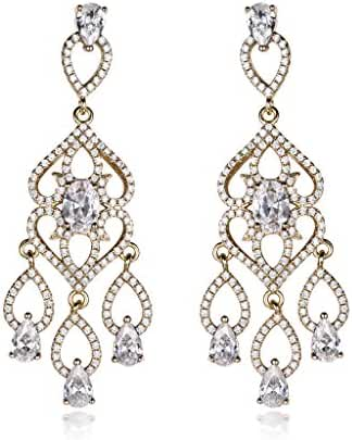 GULICX Chandelier Gold Tone Flower Teardrop Cubic Zirconia CZ Flawless Wedding Long Dangle Earrings