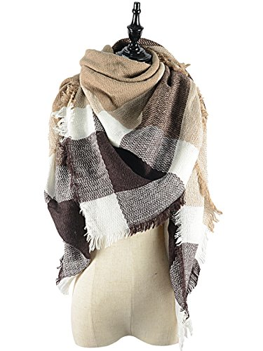 Women's Soft Warm Plaid Tartan Tassels Scarf Fall Winter Large Checked Blanket Scarves Wrap Shawl Pashminas Brown White Plaid