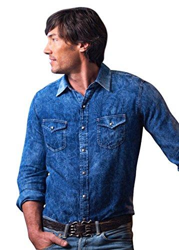Ryan Michael Paisley Jacquard Shirt Square Lux Snaps Chrome Wash Contrast Thread
