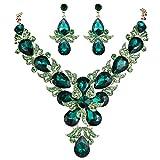 EVER FAITH Rhinestone Crystal Wedding Flower Leaf Teardrop Necklace Earring Set Green Gold-Tone