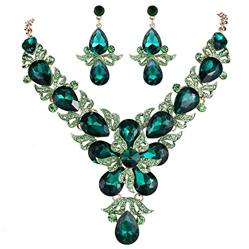 EVER FAITH Rhinestone Crystal Wedding Flower Leaf Teardrop Necklace Earring Set Green Gold-Tone ()