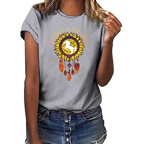 (Shusuen Sunflower Print Tank Top Funny Graphic Tanks Women Crew Neck Sleeveless Tee Shirt Vest Gray)