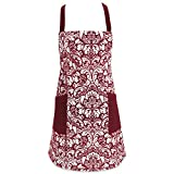 DII Cotton Adjusatble Women Kitchen Apron with Pockets and Extra Long Ties, 37.5 x 29'', Cute Apron for Cooking, Baking, Gardening, Crafting, BBQ-Damask Wine
