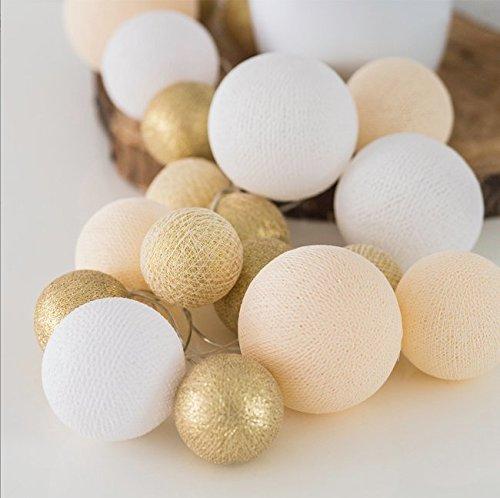 Cotton Ball Lights LED Lichterkette, Baumwolle, Gold 716855432186