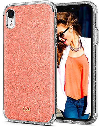 CYRILL Ciel [Glitter Collection] Hybrid Protective Case Designed for Apple iPhone XR (2018) - Coral Glitter (Coral Collection)
