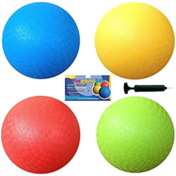 8.5 Inch Playground Balls (Set of 4) with 1 Hand Pump