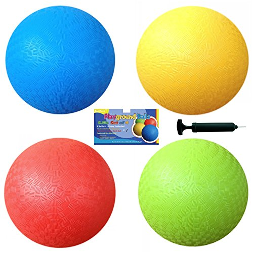 Playground Balls (Set of 4) with 1 Hand Pump