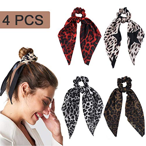 4 Pcs Hair Scrunchies Satin Silk Hair Scarf Band Ponytail Holder Vintage Elastics Scrunchy Ties Soft Leopard Ropes for Women Girls Hair Acessories