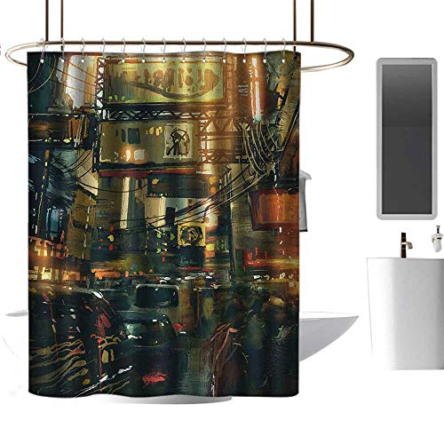 Qenuan Waterproof Fabric Shower Curtain Landscape,Cityscape of a Metropolitan Colorful Lights in a Traffic Jam Image Photograph,Multicolor,Machine Washable - Shower Hooks are Included 72