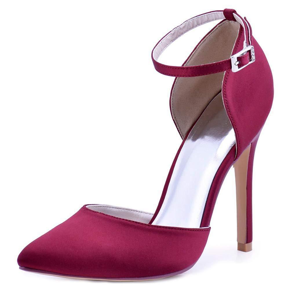 HLG Donne scarpe da da da sera tacco alto scarpe da sera punta a punta cinturino in raso damigella d'onore da sposa scarpe da sposa bordeaux e97572
