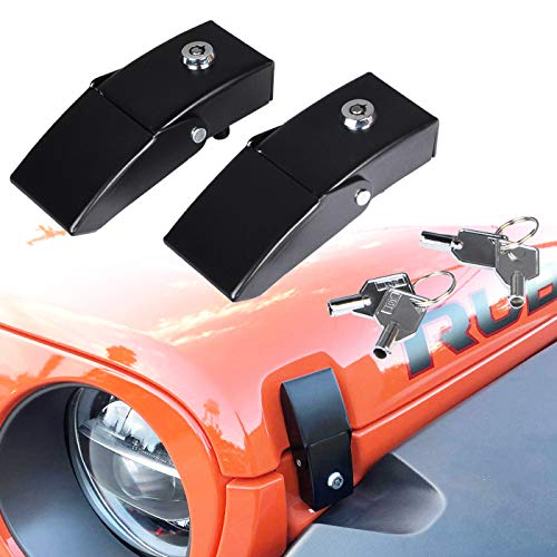 (omotor Hood Latches Hood Lock Catch Latches Stainless Steel Kit for Jeep Wrangler JK 2007-2018 (Black))