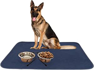 SCIROKKO 2 Pack Dog Food Mat - Highly Absorbent Reusable & Washable Pee Pads - Non Slip & Waterproof Dog Bowl Mat - Pet Crate Mat for Puppy Cat - Large