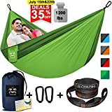 Camping Hammock for 2 Person Double Hammocks with Tree Straps & Steel Carabiners 118' L x 78' W Hold up 1200 lbs Backpacking Hammock Outdoor Hiking Portable Lightweight Parachute Single Hammock