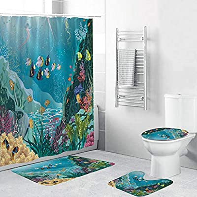 Shower Curtain Sets 4 Piece with Hooks, Beyonds Underwater World Carpet Doormats Decor Bathroom Mat and Rugs Bath Mat for tub Kids Floor, Non-Slip Fish Dolphin sea Turtle Ocean