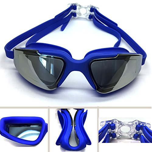 RUIHE Swim Goggles Swimming Goggles for Adult Men Women Youth Kids Child,UV Protection,Anti Fog Technology (Blue)