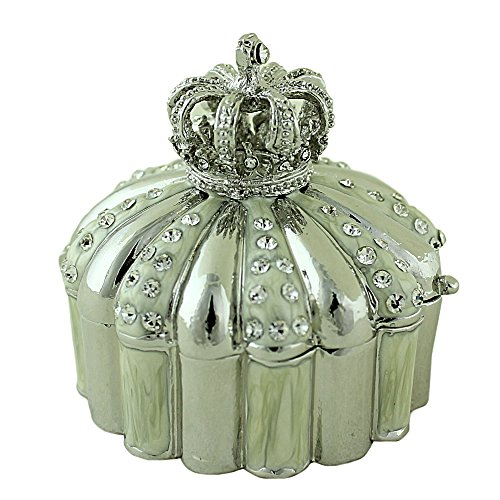 EchoMerx Crown Tiara Decorative Trinket Box with Hinge for Keepsakes, Pills, Jewelry, Ring, Silver Bejeweled