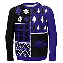 NFL Baltimore Ravens BUSY BLOCK Ugly Sweater, X-Large