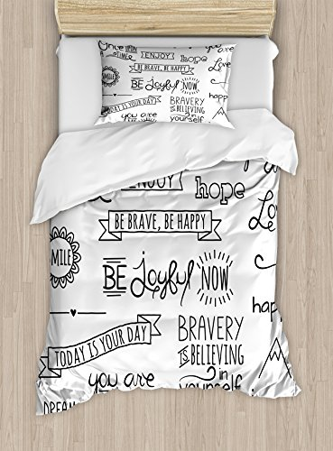 - Ambesonne Adventure Duvet Cover Set Twin Size, Various Quotes on Happiness and Self Value Uplifting Phrases Being Who You Are, Decorative 2 Piece Bedding Set with 1 Pillow Sham, Black White