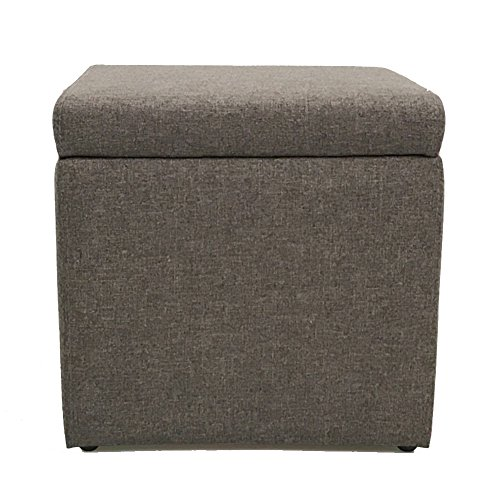 n Cube,Linen Fabric Upholstered Footstool Seat with lid Comfort Storage Box Living Room entryway -Dark Grey 13''x13''x13'' ()