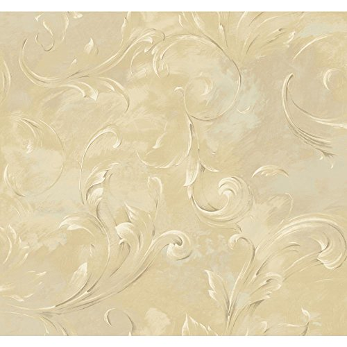 White Scroll Wallpaper (York Wallcoverings SH5599 Vintage Luxe Lg Arch Scroll Wallpaper, Beige, Golden Tan, Cream, white, grey, Taupe)