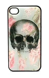 BLACK Snap On Case iPhone 5s for kids Plastic - Vintage Floral Skull Flower sugar rose