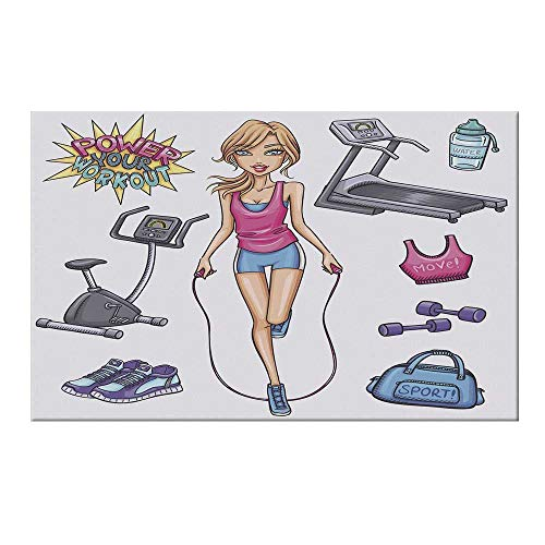 YOLIYANA Fitness Durable Door Mat,Beautiful Young Cartoon Girl Working Out at Gym Bike Treadmill Outfits and Quote Decorative for Home Office,15.7