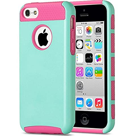 iPhone 5C Case, KAMII Dual Layer Hybrid Luxury Fashion Shockproof Soft Hard Plastic Hard Shell and Flexible TPU Case Cover for Apple iPhone 5C (Aqua (5c Of Mice And Men Case)