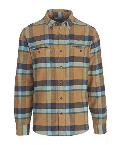 Pass Plaid Shirt (Woolrich Men's Oxbow Pass Plaid Flannel Shirt - 100% Organic Cotton, WHEAT HERRINGBONE (Beige), Size L)