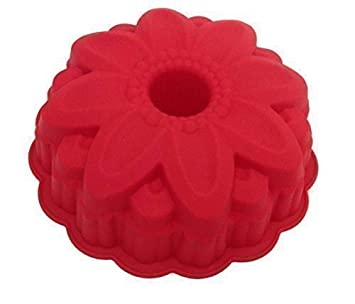 Original GMMH Silikonbackform Blume Kugelhupf Backform Kuchenform Brotbackform Obstbodenform (dunkel rot)