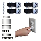 "4 Anti-Tip TV And Furniture Straps High Strength Adjustable None Slip Up To 80"" TV (4 Pack) ALL METAL PARTS And 24 Outlet Plug Covers - Earthquake Proof - Child Safety Straps"