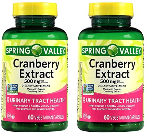 Spring Valley Cranberry Extract, 60 count, 500 mg per Capsule (Pack of 2) (Natural Cranberry Factors)