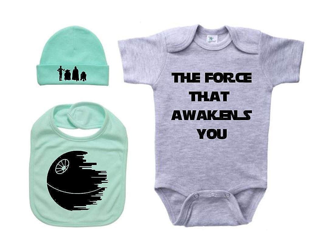 Ebenezer Fire Star Wars Baby Gift Set Cute Newborn Outfit//Grey SS
