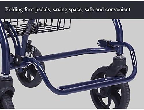 折りたたみビーチワゴン 収穫台車・キャリー 老人折りたたみトロリーカート、 食料品ショッピングカート 4輪 ポータブル 座ることができます ウォーカー 休憩席 移動カート、 積載量:120kg
