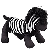 The Worthy Dog 6364 Zebra Hoodie, Black/White, M