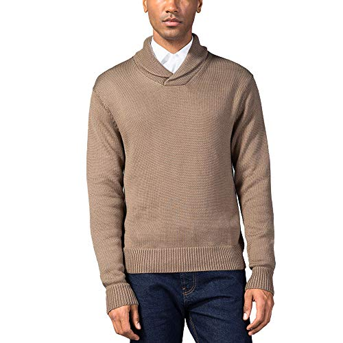 Neck Shawl (Kallspin Mens Relaxed Fit Shawl Collar V Neck Sweater Merino Wool Blend Thick and Solid (Coffee, XL))