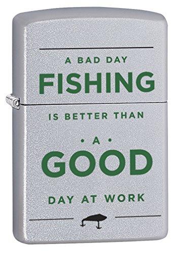 Zippo Pocket Lighter Bad Day Fishing Lighter, Chrome
