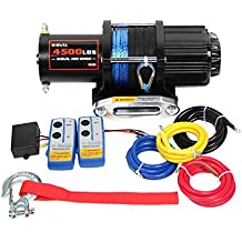 X-BULL 12V 4500LBS Synthetic Rope Electric Winch for Towing ATV/UTV/Boat Off Road with Mounting Bracket Wireless Remote Control